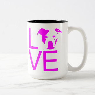 Pit bull LOVE ~ Pink Two-Tone Coffee Mug