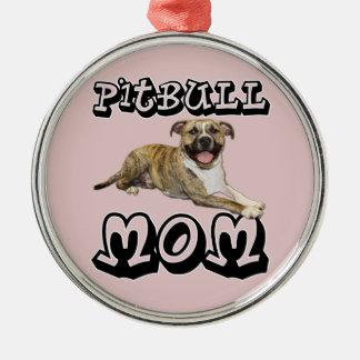 Pit Bull MOM - Tigger Silver-Colored Round Ornament