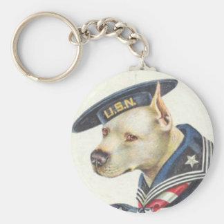 Pit Bull Navy Keychain