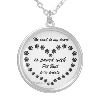 Pit Bull Paw Prints Silver Plated Necklace