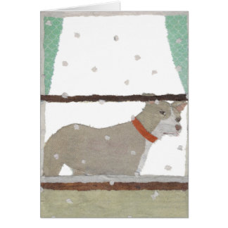Pit Bull, Pitbull, Snow, Winter, Dog Art Greeting Card
