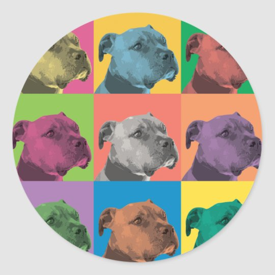 Pit Bull Pop-Art Classic Round Sticker