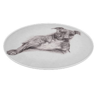 Pit Bull Portrait in Charcoal Cutting Board