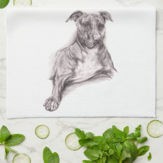 Pit Bull Portrait in Charcoal Kitchen Towel