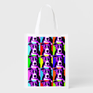 Pit Bull Print Reusable Grocery Bag - Folds up