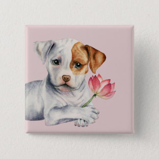Pit Bull Puppy Holding Lotus Flower Painting 2 Inch Square Button
