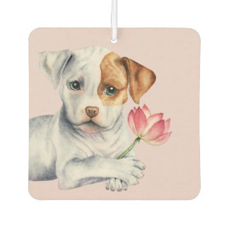 Pit Bull Puppy Holding Lotus Flower Painting Air Freshener