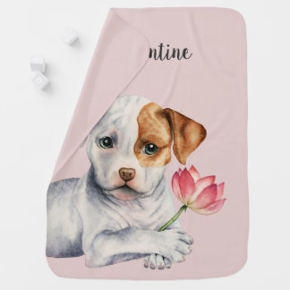 Pit Bull Puppy Holding Lotus Flower Painting Baby Blanket