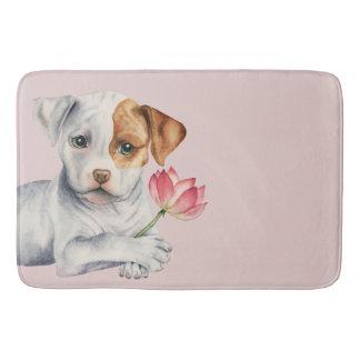 Pit Bull Puppy Holding Lotus Flower Painting Bath Mat