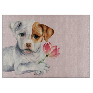 Pit Bull Puppy Holding Lotus Flower Painting Cutting Board