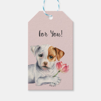 Pit Bull Puppy Holding Lotus Flower Painting Gift Tags