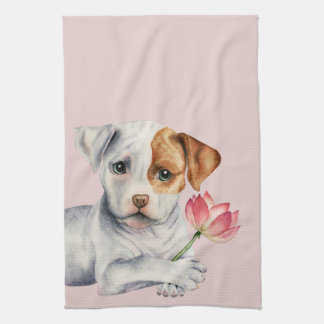 Pit Bull Puppy Holding Lotus Flower Painting Kitchen Towel