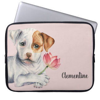 Pit Bull Puppy Holding Lotus Flower Painting Laptop Sleeve
