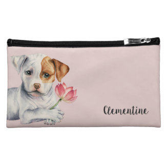 Pit Bull Puppy Holding Lotus Flower Painting Makeup Bag