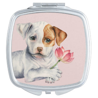 Pit Bull Puppy Holding Lotus Flower Painting Makeup Mirror