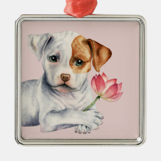 Pit Bull Puppy Holding Lotus Flower Painting Metal Ornament