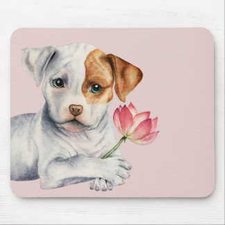 Pit Bull Puppy Holding Lotus Flower Painting Mouse Pad