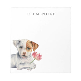 Pit Bull Puppy Holding Lotus Flower Painting Notepad