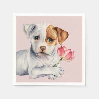 Pit Bull Puppy Holding Lotus Flower Painting Paper Napkins