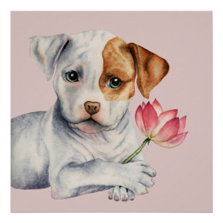 Pit Bull Puppy Holding Lotus Flower Painting Poster