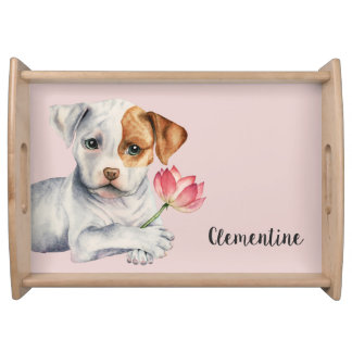 Pit Bull Puppy Holding Lotus Flower Painting Serving Tray