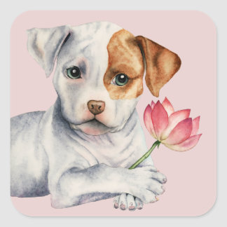 Pit Bull Puppy Holding Lotus Flower Painting Square Sticker