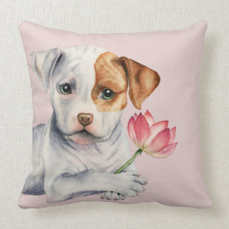 Pit Bull Puppy Holding Lotus Flower Painting Throw Pillow