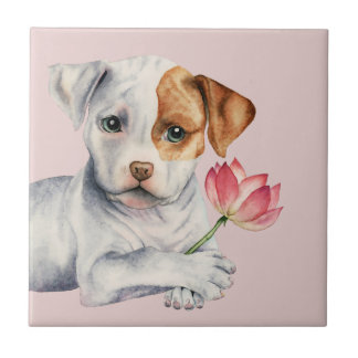 Pit Bull Puppy Holding Lotus Flower Painting Tile