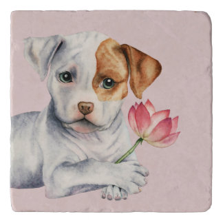 Pit Bull Puppy Holding Lotus Flower Painting Trivet