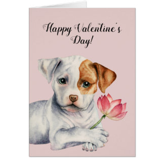 Pit Bull Puppy Holding Lotus Flower Valentine's Card