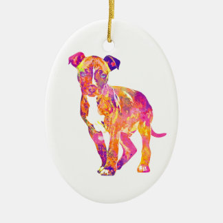 Pit Bull Puppy Pop Art Watercolor Ornament