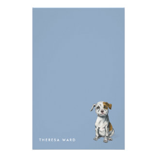 Pit Bull Puppy Sketch Drawing | Add Your Name Stationery