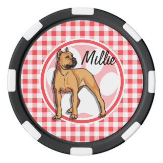 Pit Bull; Red and White Gingham Poker Chip Set