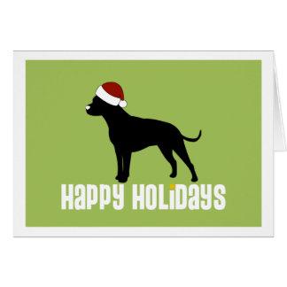 Pit Bull Santa Hat Card