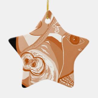 Pit Bull Sepia Tones Ceramic Ornament