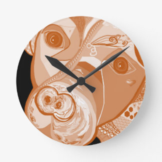Pit Bull Sepia Tones Round Clock