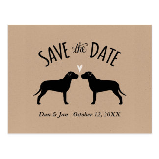 Pit Bull Silhouettes Wedding Save the Date Postcard