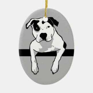 Pit Bull T-Bone Graphic Ceramic Oval Ornament