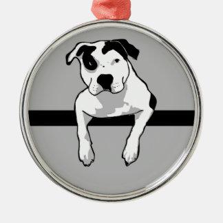 Pit Bull T-Bone Graphic Silver-Colored Round Ornament
