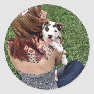 Pit Bull T-Bone Lucky Puppy Classic Round Sticker