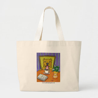 Pit Bull Terrier at the Cafe Large Tote Bag