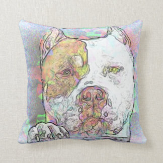 Pit Bull Terrier Dog Pit Breed Watercolor Throw Pillow