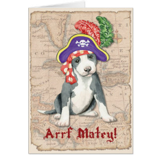Pit Bull Terrier Pirate Card
