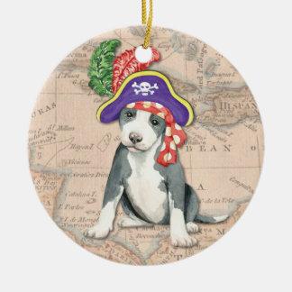 Pit Bull Terrier Pirate Round Ceramic Ornament