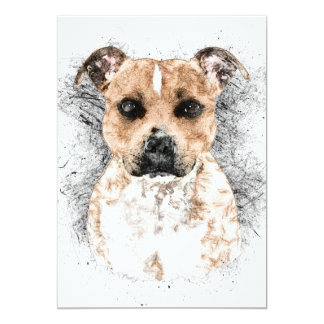 """Pit Bull Terrier Sketch on 5"""" x 7"""" Cardstock Card"""