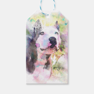 Pit Bull Water Colour Pack Of Gift Tags