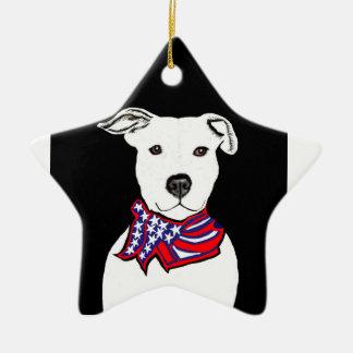 Pit bull wearing Americanflag bandana Christmas or Ceramic Star Ornament