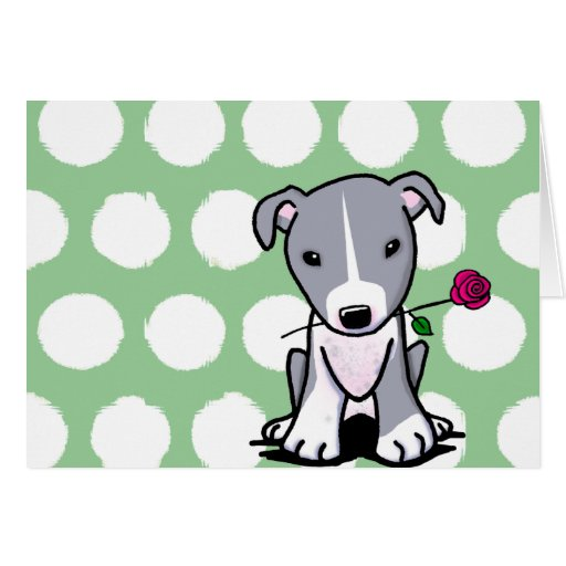 Pit Bull With Flower Card
