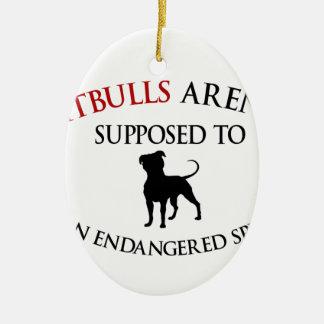 Pit bulls design cute ceramic oval ornament