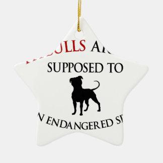 Pit bulls design cute ceramic star ornament